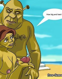 Lusty Shrek and princess Fiona are fucking hard at the beach