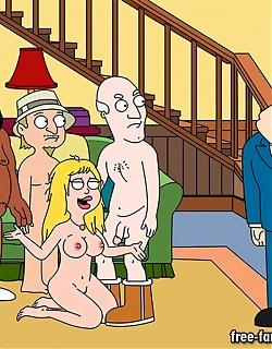 Famous cartoon American Dad heroes in hardcore sex orgies