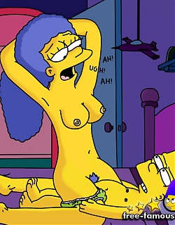 Desperato milf Marge Simpson seduced shy Bart to fuck hard