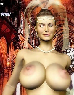 Breasty bride was seduced and fucked by two lusty lovers