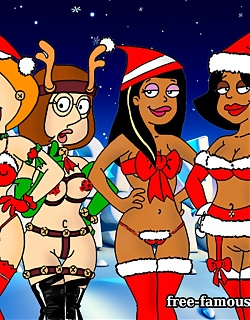 Famous cartoon heroes on hardcore Xmas New Years party
