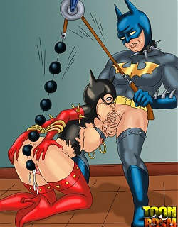 Batman working his pain sluts' holes out