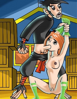 Lusty redhead girl Kim Possible is fucking hard with friends