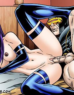 Psylocke feels Cyclop�s dick deep inside her
