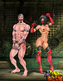 Naked Mortal Kombat babes and their slaves
