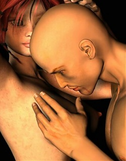 Huge boobed redhead 3D babe Misty getting fucked hard by bald Gary