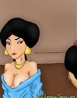 Shy princess Jasmine was seduced and fucked by Aladdin