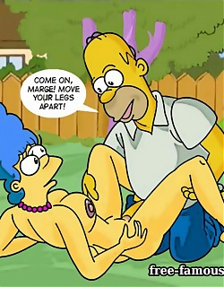Lusty Homer and hot milf Marge Simpson in hardcore orgy