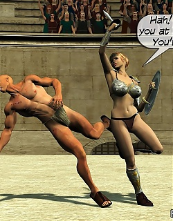 Breasty hot lusty girl and boy are fighting and fucking like gladiators