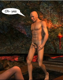 Busty 3D bitch teasing a bald dude