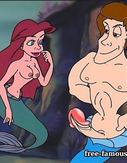 Teenie famous toon girl Mermaid Ariel in hardcore couple