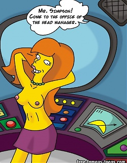 Homer Simpson is cheating with lusty redhead girl at work