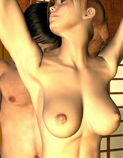 Elegant redhead 3D seductress Sarah gives blowjob and gets pounded by handsome George